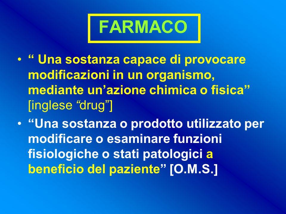 FARMACO Una sostanza capace di provocare modificazioni in un organismo, mediante un'azione chimica o fisica [inglese drug ]